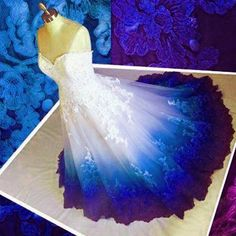 Ombre Prom Dress Sweetheart, Ball Gown Applique Quinceanera Dresses, Party Dresses is part of Ombre prom dresses - UPS then you need to use this one too if you have any question please contact me freely ! Ombre Wedding Dress, Ombre Prom Dresses, Strapless Prom Dresses, Long Wedding Dresses, Turquoise Wedding Dresses, Blue Purple Wedding, Ombre Gown, Blue Wedding Gowns, Colorful Wedding Dresses