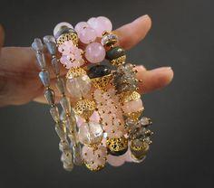 Labradorite, Rose Quartz, Rock Crystals, Smoky Quartz, Gemstone Bracelet. Cubic Zirconia Details