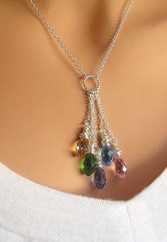 XMAS SALE ORIGINAL version sterling silver Friendship drop necklace with Swarovski Teardrop Crystals. Wire Jewelry, Jewelry Crafts, Wedding Jewelry, Beaded Jewelry, Jewelery, Beaded Necklace, Unique Jewelry, Necklaces, Handmade Jewelry Designs