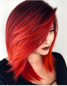 Pink-Red with Yellow Highlights - 20 Cool Styles with Bright Red Hair Color (Updated for - The Trending Hairstyle Vivid Hair Color, Ombre Hair Color, Red Color, Red Ombre, Hair Colors, Red Bob Hair, Ombré Hair, Coloured Hair, Grunge Hair