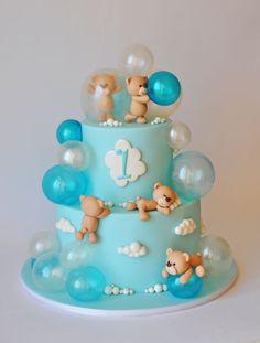 bubble bears cake - Ideas for children's birthday cakes - Tortendeko - Cake Design Baby Birthday Cakes, Baby Boy Cakes, Birthday Bash, Birthday Kids, Teddy Bear Birthday Cake, Number Birthday Cakes, Birtday Cake, Baby Shower Cakes For Boys, Women Birthday