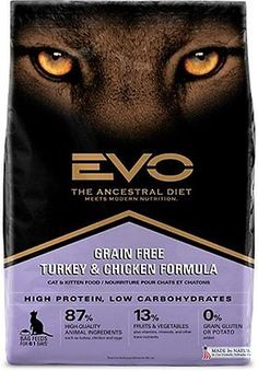 Evo Grain Free Turkey and Chicken Formula Cat and Kitten Food 2.2 Pounds, 1