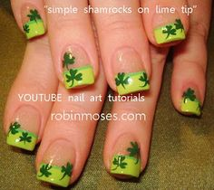 St. Patrick's Day nails, would just do the clover on ring finger and yellow and green tips on the rest