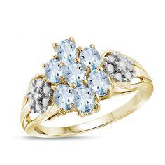Womens Diamond Accent Genuine Blue Aquamarine Cluster Cocktail Ring Aquamarine Jewelry, Aquamarine Blue, Birthstone Jewelry, Men's Jewelry Rings, Sea Glass Jewelry, Fine Jewelry, Gold Jewelry, Jewelry Watches, Blue Rings