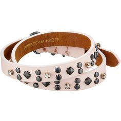 Rebecca Minkoff Studded Double Wrap Leather Bracelet (Pink/Hematite)... (255 SAR) ❤ liked on Polyvore featuring jewelry, bracelets, facet jewelry, pink bangles, polish jewelry, hematite jewelry and rebecca minkoff jewelry