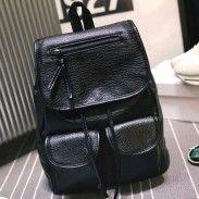Black Solid Two Pockets PU Schoolbag Girl Backpack