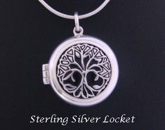 Tree of Life Meaning | Tree of Life Symbolism, Tree of Life Jewelry Tree of Life Locket Pendant, Celtic Tree Design, Sterling Silver [TOLP060] - Fabulous Sterling Silver Tree of Life Locket 22mm depicting a Celtic design Tree of Life over a black inlay here in our Tree of Life Jewelry collection - a really stunning jewelry piece #treeoflife #treeoflifejewelry #treeoflifenecklace #treeoflifejewellery