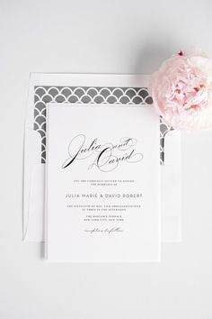 Gray scalloped vintage wedding invitations. Perfect for a glam wedding!