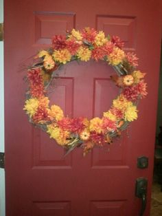 Fall wreath.  It cost me $24 to make.  Got supplies from Old Time Pottery.  It took 5 minutes to make.