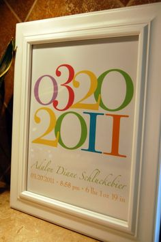 """Important Dates - Custom Personalized Baby Birthdate Print  - Art for Nursery - Baby Gift - 8""""x10"""" on Etsy, $20.00"""