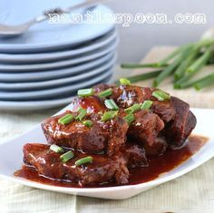 CROCK POT ASIAN RIBS-   2 ½ kilos / 5 lbs of country style pork ribs, regular ribs or pork shoulder     For the sauce:        3/4 cup brown sugar  1/4 cup honey or agave nectar  1/2 cup soy sauce (get a wheat-free brandifyou wish to do a fullygluten-free version)  1/2 cup ketchup  3 Tbsp rice vinegar  3 Tbsp sweet chili sauce   4 garlic cloves, minced  1-inchfresh ginger, chopped or 1/2 tsp ground ginger  1 tsp salt  Freshly ground black pepper, to taste  2 bay leaves