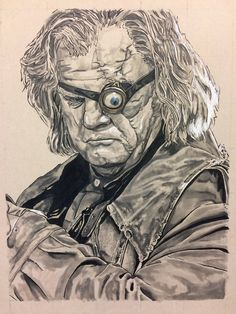 Original fine art print of Mad Eye Moody from Harry Potter by Benny Miller Art All prints are hand signed by the artist Image is cut to standard frame size Harry Potter Sketch, Arte Do Harry Potter, Harry Potter Severus Snape, Dobby Harry Potter, Harry Potter Wizard, Harry Potter Artwork, Images Harry Potter, Harry Potter Drawings, Harry Potter Tattoos