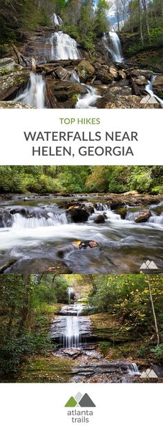 Hike these scenic trails to our favorite waterfalls near Georgia's alpine mountain town of Helen, exploring wildflower-filled creek valleys, tumbling waterfalls, and rocky, mossy forests. #hiking #atlanta #georgia #travel #outdoors #adventure