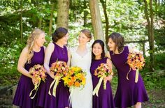 Nature Inspired Wedding at Hawk's Nest State Park WV - Purple bridesmaid dresses with orange and yellow bouquets