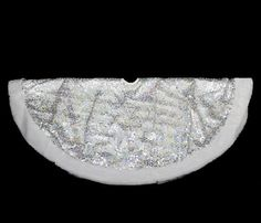 "48"""" Shiny Silver Holographic Sequined Christmas Tree Skirt with White Faux Fur Trim"