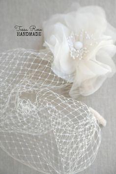 Handmade Birdcage Blusher Veil Silk Flower  by TessaRoseHandmade