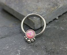 Cinch- Sold as Single  Pink Opal Fire Hoop Earrings can be use for conch septum helix cartilage nipple  Captive bead ring, opal bead is held in by pressure