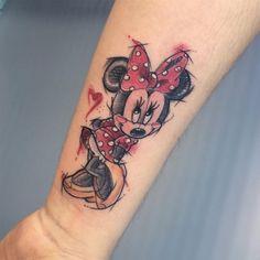 Mickey and Minnie Mouse Tattoo 63 Mickey Tattoo, Cute Disney Tattoos, Mickey Mouse Tattoos, Back Of Leg Tattoos, Ankle Tattoos For Women, Elbow Tattoos, Sleeve Tattoos, Forarm Tattoos, New Tattoos
