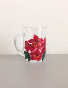 Items similar to Coffee Mug, Tea Cup, Glass with Hand Painted Red Rhododendron on Etsy Coffee Cups, Tea Cups, Olive Oil Bottles, Soap Dispensers, Punch Bowls, Spice Things Up, Hand Painted, Mugs, Tableware