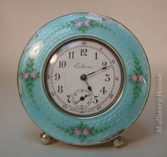Antique SILVER & GUILLOCHE Enamel Pink Rosebuds Turquoise American Clock Eileen