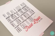 Free Printable True Love Quote Poster, Card and Background Image @ mintedstrawberry.blogspot.com