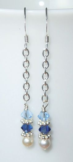Swarovski Crystal and Pearl Nautical Long Chain Earrings by BestBuyDesigns