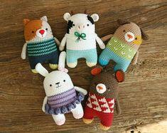crochet pattern-5in1/mouse/cat/dog/rabbit/milkcow/symbolpattern(PDF/ENG)