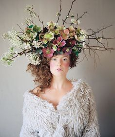 A branchy headpiece made up of wintry hellebores | Floral design by Ivanka Matsuba | Styling by Anna Korkobcova | Photo by Zack Pianko | Hair and makeup by Katie Nash