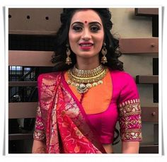 Elegant designer blouse with net saree Want to know more _ Blouse designs Choli Blouse Design, Saree Blouse Patterns, Fancy Blouse Designs, Designer Blouse Patterns, Bridal Blouse Designs, Blouse Neck Designs, Latest Blouse Designs, Indian Blouse Designs, Traditional Blouse Designs