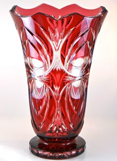 bohemian vase | TOM Bohemia Bohemian Czech Vase in Gold Ruby Cased Cut to Clear ...