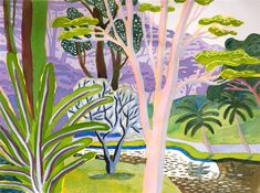 By Jennifer Tyers.  Tropical Garden 2014 – bamboo, palm, fecund, greenery, plein air landscapes, Singapore, Sarawak Paintings at Edwina Corlette Gallery, Brisbane, Australia http://edwinacorlette.com/stock Watercolour paintings of tropical gardens.
