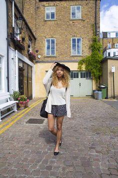 Hat summer skirt knit jumper flats fashion combo