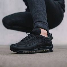 Sneakers Nike Air Max Baskets Ideas For 2019 Sneakers Mode, Sneakers Fashion, All Black Sneakers, Fashion Shoes, All Black Nike Shoes, Black Nikes, Cute Shoes, Me Too Shoes, Air Max 97 Outfit