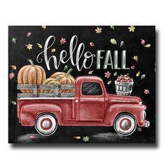 Fall Sign, Chalkboard Art, Chalk Art, Fall Decor, Hello Fall, Vintage Truck, Fall Leaves, Pumpkin Art, Apples, Fall Quote