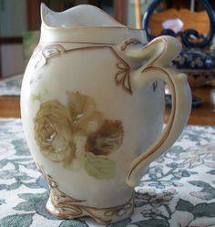 Germany Silesia Ohme Old Ivory 16 Pattern Creamer Roses