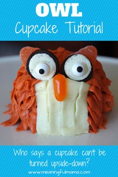 Owl Cupcake Tutorial  Pinned by www.myowlbarn.com
