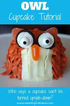 Owl Cupcake Tutorial  Pinned by www.myowlbarn.com