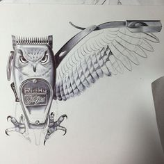 Check out this really cool art by @rickyclipz Now that's using your imagination. #art #barber #barbershop #clippers #safetyrazor #shavette #owl