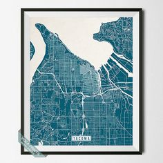 Tacoma Neighborhoods Map Print Tacoma Washington Seattle And - Us tacoma map