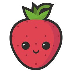 """Cute Strawberry"" Sticker by cuterecipes Cute Food Drawings, Cute Little Drawings, Cute Cartoon Drawings, Cute Kawaii Drawings, Kawaii Art, Doodle Drawings, Doodle Art, Strawberry Drawing, Cute Strawberry"