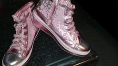 Justice Ladies High-Top Wedge Sneakers Sz 10 Silver Pink Cheetah Leopard Print #Justice #HiTopTrainerBoots