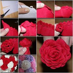 How to diy unique crepe paper roseHobby Ideas - 10 easy steps to make crepe flowersImage via: marrietta , i creative ideas Crepe paper roses look perfectly fabulous. They can be crafted in a lot of colors from soft pastels to bold huesTry These Unique and Crepe Paper Crafts, Crepe Paper Roses, Tissue Paper Flowers, Diy Paper, Handmade Flowers, Diy Flowers, Fabric Flowers, Flower Diy, Tutorial Rosa
