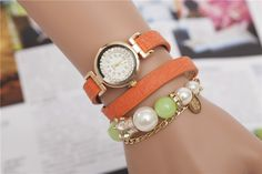 10colors Beauty Girl Love Fashion Pearl Beads Strand PU Leather Wrist Band Wrap Women Bracelets Lady Novelty Carera Watches ZB59. Yesterday's price: US $7.78 (6.43 EUR). Today's price: US $4.28 (3.52 EUR). Discount: 45%.