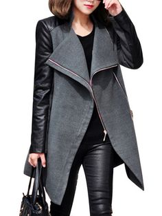 Faux Leather Patchwork Long Sleeve Fashion Womens Pea Coat & Jackets / Coats - at Jollychic