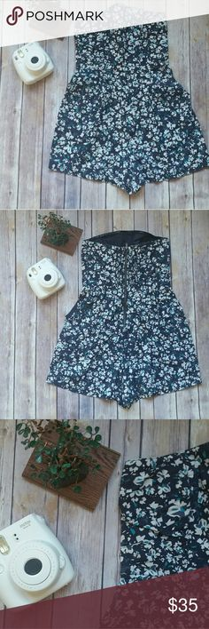 Pacsun Strapless Romper Floral, strapless romper from Pacsun.  Has roomy pockets.  Wore about 3x. Gently used. PacSun Pants Jumpsuits & Rompers