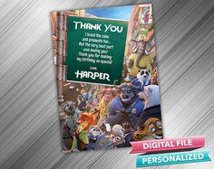 ZOOTOPIA THANK YOU  Zootopia Birthday Thank you by kidspartydiy