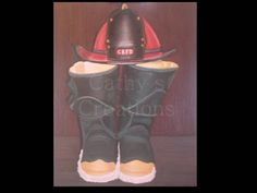 """This painting is called """"Devine Boots"""" because my family lost a close friend who was a retired fire fighter.  I gave the original to his family, but am willing to paint upon request with specification on the initials for the hat.  Please contact me through my e-mail and will discuss sizes and price."""