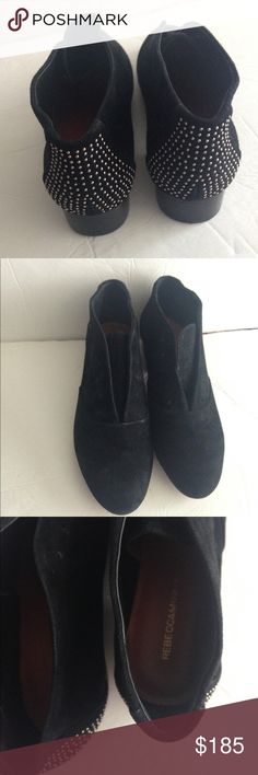 Rebecca Minkoff Women's Paige Suede Boots Booties Rebecca Minkoff Women's Paige Black Suede Boots Booties size 8.5M $250-NWOT! These boots have no laces- that is the style with these. Super fun gold embellishments in the back of the boots. Sticker on the