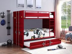Shop the Freight Container Theme Twin Bunk Bed in blue, white, red and gunmetal. Best Deals on twin metal bunks with trundle bed.
