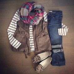 Casual layers in mixed prints for Fall: army vest, plaid scarf, stripe tee, leopard loafers and boyfriend jeans